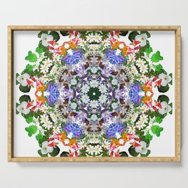 Spring wildflower mandala 2 Serving Tray