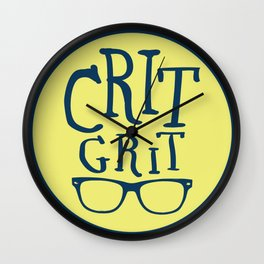 """Crit Grit"" Surviving Art School Badge Wall Clock"