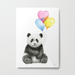 Panda Baby with Heart-Shaped Balloons Whimsical Animals Nursery Decor Metal Print