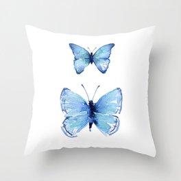 Two Blue Butterflies Watercolor Throw Pillow