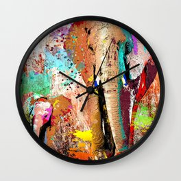 African Elephant Family Painting Wall Clock