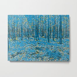 In the forrest - blue, yellow, white stones Metal Print