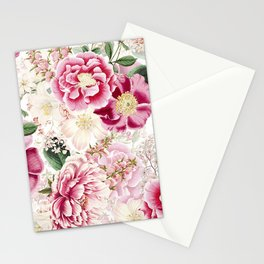 Vintage & Shabby Chic - Pink Chinoserie Flower Pattern Stationery Cards