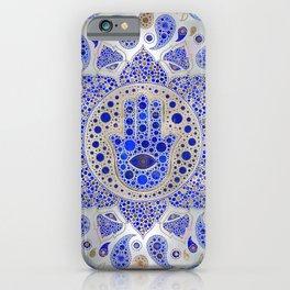 Hamsa Hand -Hand of Fatima Dot Art On Mother of pearl iPhone Case