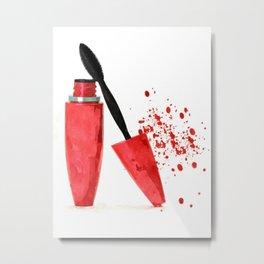 Red mascara fashion watercolor illustration Metal Print