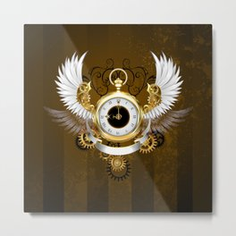 Steampunk Gold Watch with White Wings Metal Print