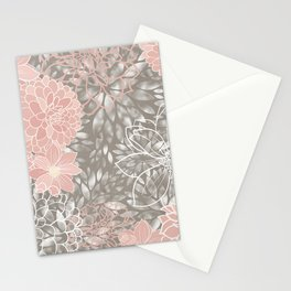 Floral Pattern Dahlias, Blush Pink, Gray, White Stationery Cards