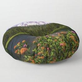 Mt. Rainier Wildflowers Reflection Lake Floor Pillow