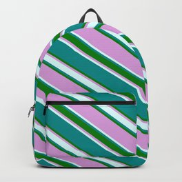 Dark Cyan, Green, Plum & Light Cyan Colored Striped Pattern Backpack