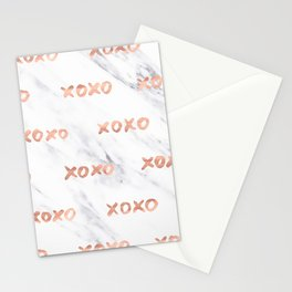 XOXO Text Rose Gold on Marble Stationery Cards
