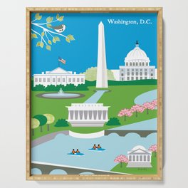 Washington, D.C. - Skyline Illustration by Loose Petals Serving Tray