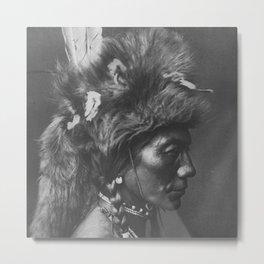 Native American Piegan Warrior, Yellow Kidney, portrait black and white photography Metal Print
