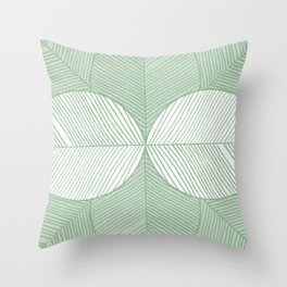 Minimal Tropical Leaves Pastel Green Throw Pillow
