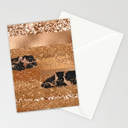 Girly Copper Milk Coffee Glamour Glitter Metal Stripes  Stationery Cards