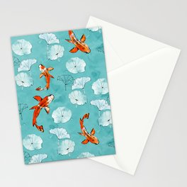 Waterlily koi in turquoise Stationery Cards
