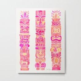 Tiki Totems – Pink Palette Metal Print