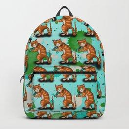 Cartoon ginger cat weights workout Backpack