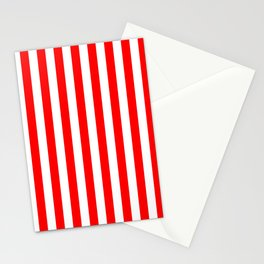 Red and White Candy Cane Vertical - Medium Stripes Stationery Cards