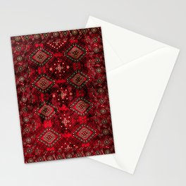 N129 - Epic Royal Red Oriental Traditional Moroccan Style Fabric Design  Stationery Cards