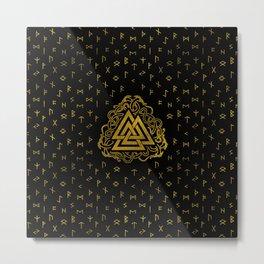 Gold Valknut Symbol on Runes Pattern Metal Print