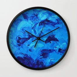 Dolphins Frolicking in the Ocean Wall Clock