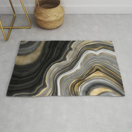 Black Gold and Copper Marble Rug