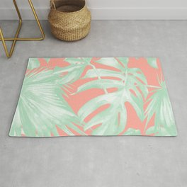 Island Love Coral Pink + Light Green Rug