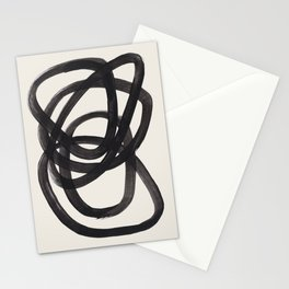 Mid Century Modern Minimalist Abstract Art Brush Strokes Black & White Ink Art Spiral Circles Stationery Cards
