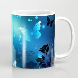 Midnight Butterflies Glowing Coffee Mug