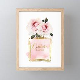 Watercolor, Perfume,Blush, Pink, Gold ,Fashion illustration, Roses, art, make up, Perfume bottle Framed Mini Art Print