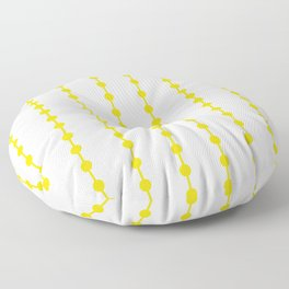 Geometric Droplets Pattern Linked - Summer Sunshine Yellow on White Floor Pillow