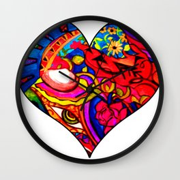 Abstract Nature Painted Collage Heart Wall Clock