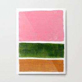 Colorful Minimalist Mid Century Modern Shapes Pink Olive Green Yellow Ochre Rothko Minimalist Square Metal Print