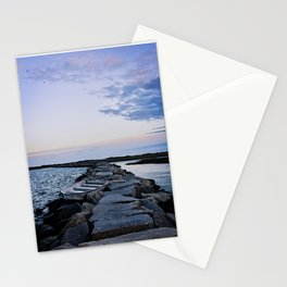 Cape Cod Sailboat on Rocks under Sunset Stationery Cards
