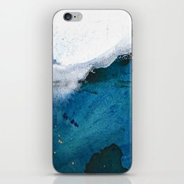 In the Surf: a vibrant minimal abstract painting in blues and gold iPhone Skin