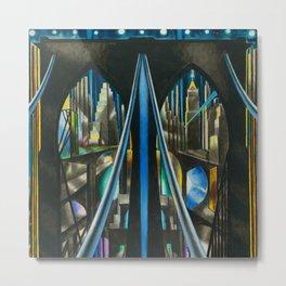 Brooklyn Bridge, New York City Skyline Art Deco landscape painting by Joseph Stella Metal Print