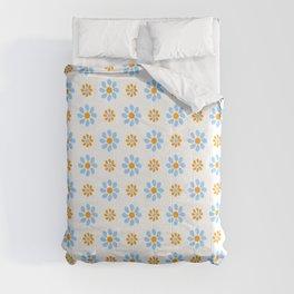 geometric flower 23 blue and orange Comforters