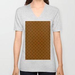 Black on Chocolate Brown Snowflakes Unisex V-Neck