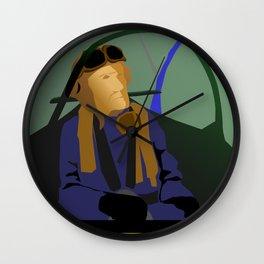 Spitfire hero over Kjeller Aerodrome Wall Clock