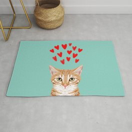 Mackenzie - Orange Tabby Cute Valentines Day Kitten Girly Retro Cat Art cell phone Rug