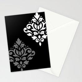 Scroll Damask Art I Black Grey White Stationery Cards