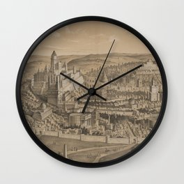 Vintage Pictorial Map of Ancient Jerusalem (1887) Wall Clock