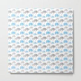 Blue Gray Elephant Baby Boy Nursery Metal Print