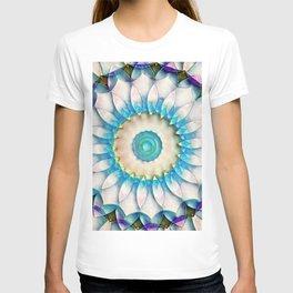 Aqua White Flower Kaleidoscope T-shirt