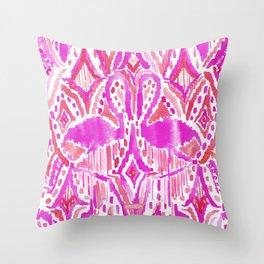 HEY FLAMINGO Pink Watercolor Tribal Throw Pillow