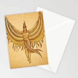 Isis, Goddess Egypt with wings of the legendary bird Phoenix Stationery Cards