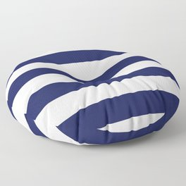 Large Wide Band Vintage Midnight Blue And White Stripes Floor Pillow