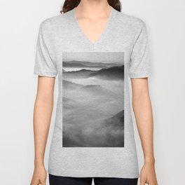 Fog and hills photographic black and white print Unisex V-Neck