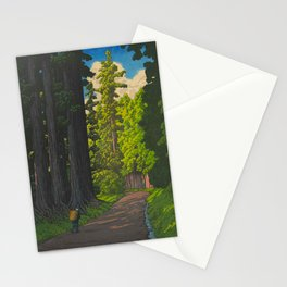 Vintage Japanese Woodblock Print Kawase Hasui Mystical Japanese forest Tall Green Stationery Cards