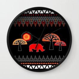 African Rhino (Hot colors) - by Kara Peters Wall Clock